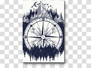 Tattoo artist Compass rose Symbol, compass PNG clipart