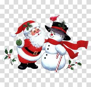 Santa Claus Christmas Snowman , Santa Claus and snowman PNG
