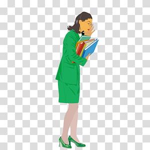Woman Teacher Illustration, Green suit female teacher PNG clipart