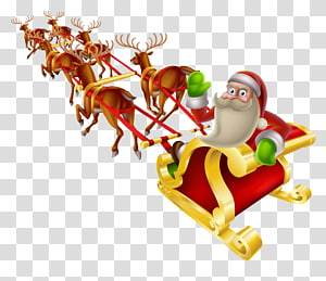 Santa Claus Reindeer Christmas Sled , Santa Claus PNG clipart