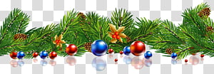 pine leaves with red and blue bauble , Christmas New Year , Christmas Pine Decor Balls PNG clipart