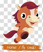 brown horse illustration, Chinese Horoscope Kids Horse Sign PNG