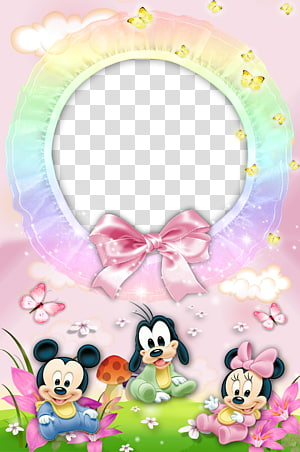 Mickey Mouse, Goofy, and Minnie Mouse , Mickey Mouse Minnie Mouse Donald Duck Pluto frame, Mood Frame s PNG