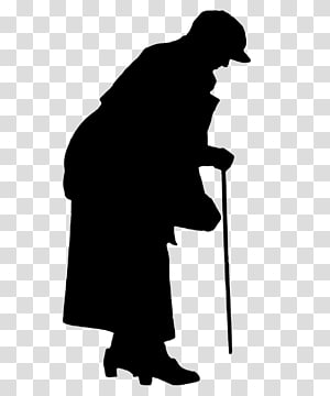 crutches lonely old lady silhouette PNG clipart