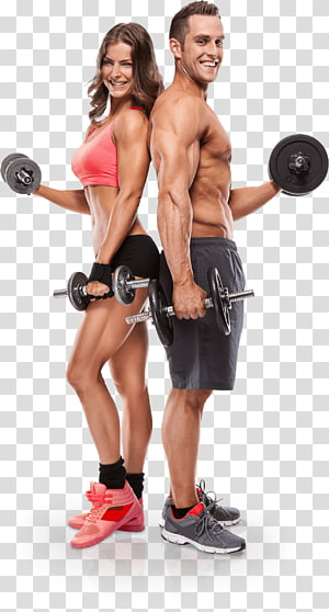smiling man and woman holding dumbbells, Physical fitness Personal trainer Fitness Centre Exercise Fitness professional, personal trainer PNG