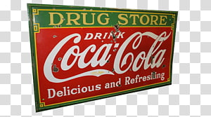 green and red Coca-Cola signage, Drugstore Coca Cola Sign PNG clipart