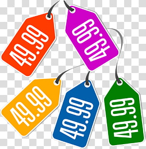 five assorted-color price tags illustration, Price Tag , Tag PNG