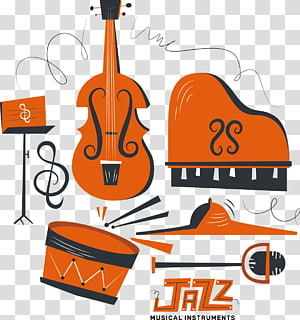 Musical Instruments Jazz Orchestra , illustration painted musical instruments PNG