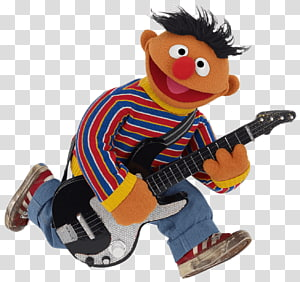 Sesame Street Ernie playing guitar plush toy, Sesame Street Ernie With Electrical Guitar PNG