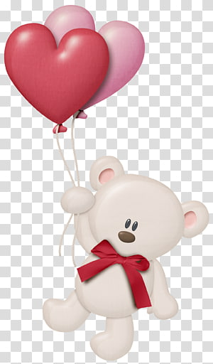 beige bear holding two heart red and pink balloons illustration, Teddy bear Balloon , fuchsia frame PNG clipart