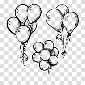 three balloon illustration, Drawing Balloon Illustration, Three strings of balloons PNG clipart