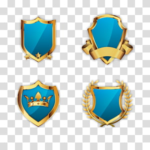 four blue-and-gold shield icons illustration, Adobe Illustrator, golden shield PNG