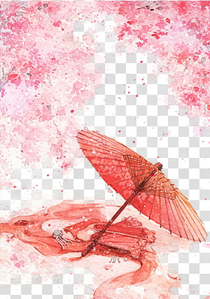 pink umbrella illustration, Watercolor painting Ink wash painting Illustration, Antiquity beautiful watercolor illustration PNG