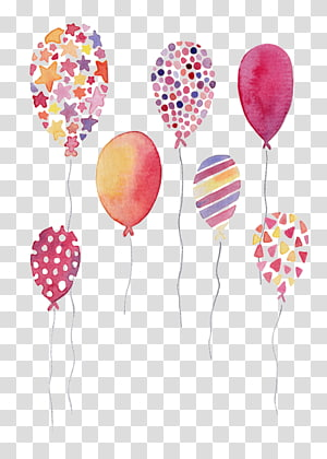 of balloons, Happy Birthday to You Balloon Greeting card Wish, Watercolor balloons PNG clipart