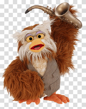 brown an d gray bird plush toy, Sesame Street Hoots the Owl With Saxophone PNG