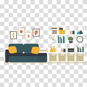 white 4x4 cube organizer illustration, Interior Design Services Cartoon, living room sofa PNG