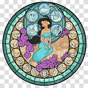 Kingdom Hearts II Princess Jasmine Stained glass Window The Walt Disney Company, princess jasmine PNG clipart