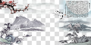 Ink wash painting Shan shui Chinese painting Poster, Chinese ink painting design, mountain and body of water illustrations PNG