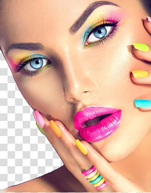 woman with colorful makeup touching face, Cosmetics Beauty Face Make-up artist Eye shadow, Colorful eye shadow woman face closeup PNG clipart