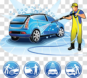 Car wash Cartoon Illustration, Car wash beauty care services, car wash PNG clipart