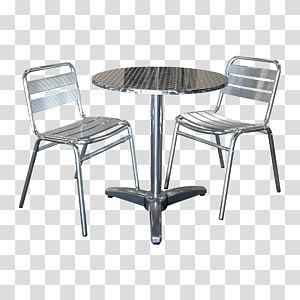 gray stainless steel 3-piece bistro set, Table Bistro No. 14 chair Cafe, table PNG