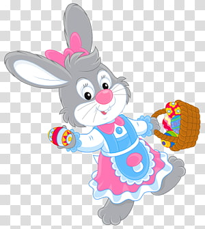 grey rabbit illustration, Easter Bunny , Easter Bunny with Egg Basket PNG clipart