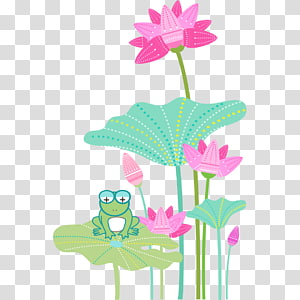 Plastic Frog Vase, Frog and lotus PNG