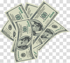 Cash Money United States Dollar , Large 100 Dollars Bills , six 100 U.S. dollar banknotes PNG clipart