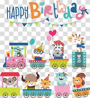 Happy Birthday buntings illustration, Cartoon Birthday Illustration, birthday card cartoon animals PNG clipart