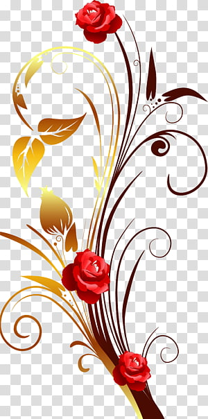 red roses , Paper , Cartoon hand-painted flower pattern PNG