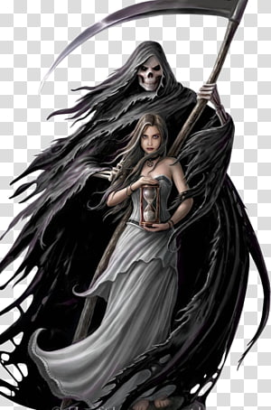 reaper and woman holding hourglass digital , Death Fairy Goth subculture Gothic art Vampire, Fairy PNG