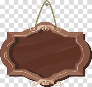 brown hanging frame , Signage, Wood signboard PNG