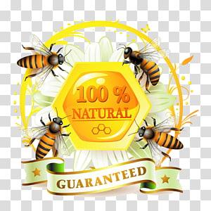 Honey bee Label, bee PNG