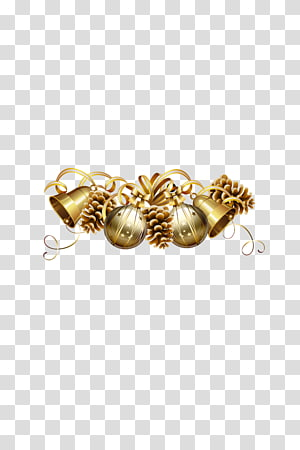 Christmas ornament New Years Day, Golden bells PNG