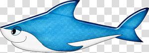 Shark Cartoon, Blue cartoon shark sticker PNG clipart