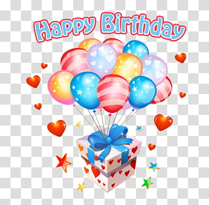 gift box with balloons and text overlay , Happy Birthday material PNG clipart