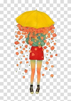 Drawing Painting Sadness Illustration, Girl under umbrella PNG clipart