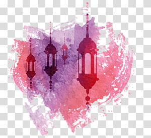 Watercolor pattern, silhouette of lanterns with pink background illustration PNG clipart