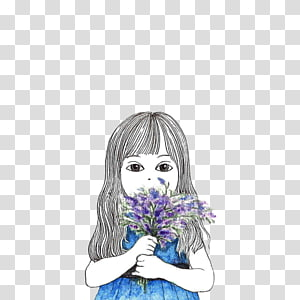 Cartoon Illustration, Little girl and lilac PNG clipart