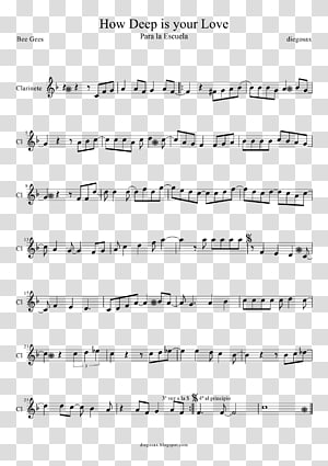 Sheet Music How Deep Is Your Love Flute Saxophone Violin, sheet music PNG clipart
