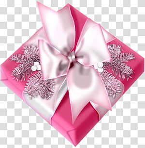 Christmas gift Christmas gift , Gift banner pink bow PNG clipart