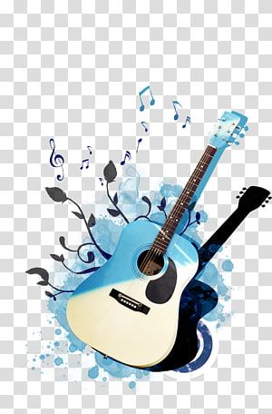 blue and white acoustic guitar illustration, Guitar Poster, psd guitar PNG