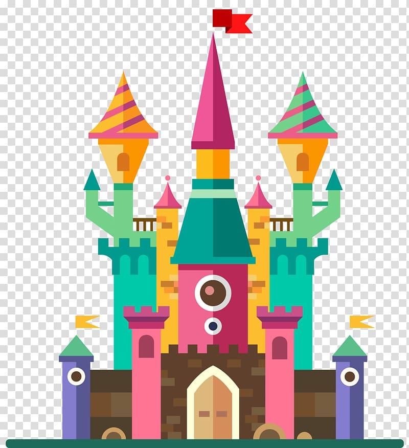 castle illustration, Fairy tale Magic Illustration, Cute Castle PNG clipart