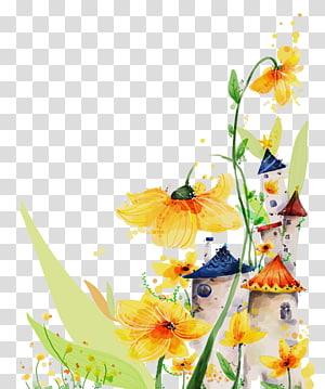 Cartoon Illustration, Cartoon floral background PNG clipart