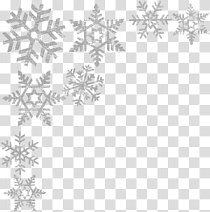 grey snowflakes illustration, Black and white Point Pattern, Snowflakes border PNG clipart