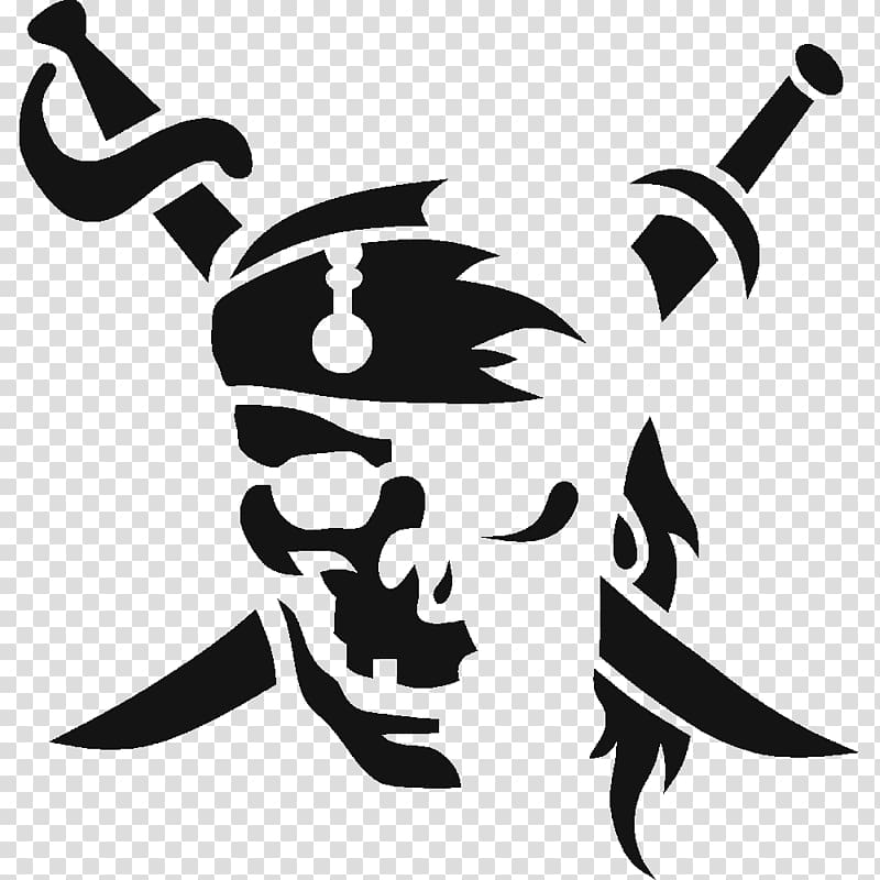 Stencil Pirate Jolly Roger Skull , frosted PNG