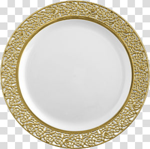Plate Plastic Disposable Tableware Gold, plates PNG