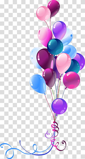 assorted-color party balloons, Happy Birthday to You Balloon , Ballons PNG