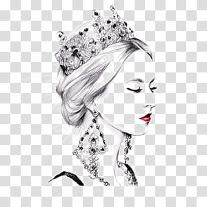 woman with crown and red lips painting, painting Illustrator Drawing Illustration, Fashion illustration girl PNG clipart