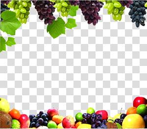 assorted fruits frame, Juice Fruit Vegetable Food Grape, Fruit Border PNG